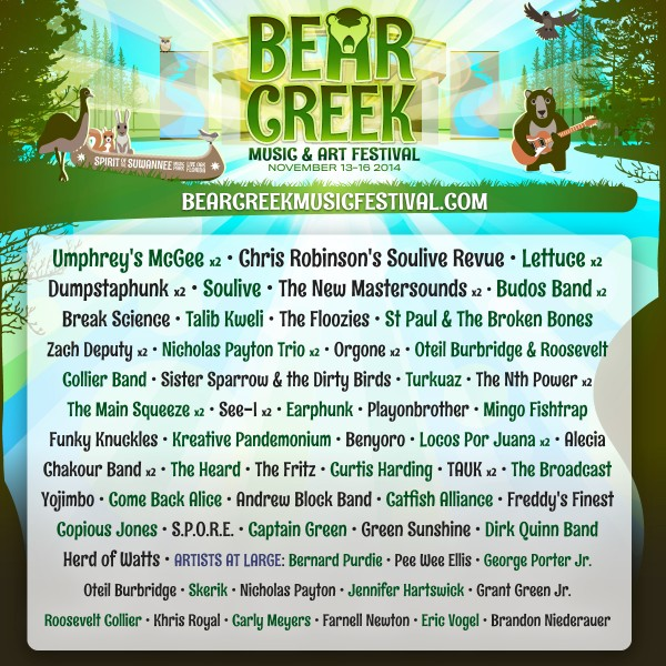 Bear Creek line up poster logo